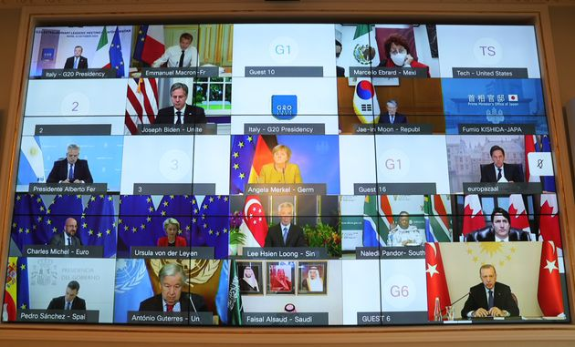 ISTANBUL, TURKEY - OCTOBER 12: Turkish President Recep Tayyip Erdogan attends G20 extraordinary meeting...