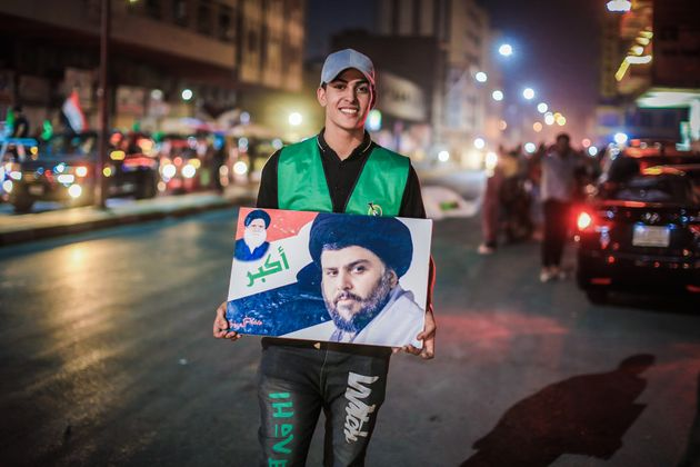 BAGHDAD, IRAQ - OCTOBER 11: Supporters of Iraqi Shiite cleric Moqtada al-Sadr take to the streets to...