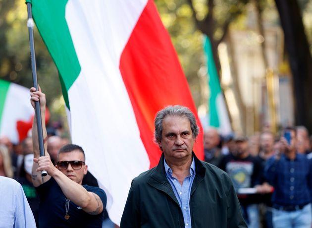 09/10/21 Roma. Scontri tra manifestanti No Green Pass e forze dell ordine. Nella foto Roberto Fiore e...