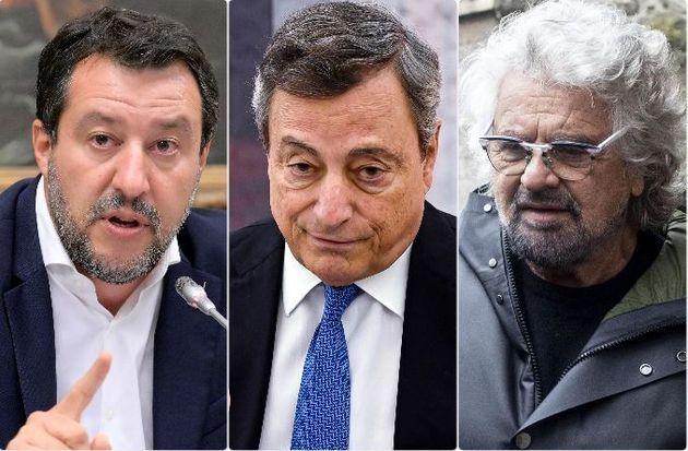 Matteo Salvini, Mario Draghi e Beppe