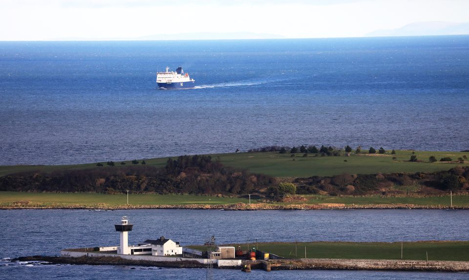 A ferry from Scotland crosses the Irish Sea making way towards the port at Larne on the north coast of...