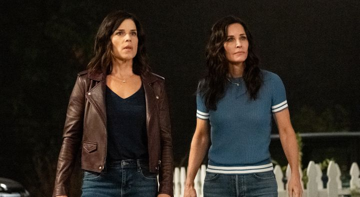 """Neve Campbell (left) and Courteney Cox in """"Scream,"""" due out in 2022."""