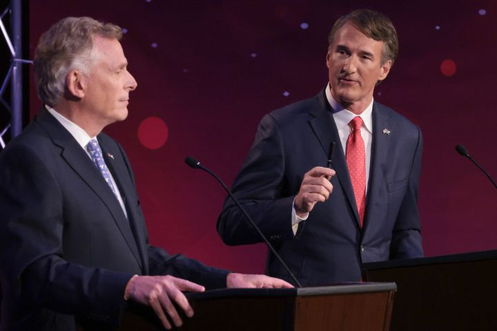 """Glenn Youngkin (right), the GOP nominee for governor in Virginia, has flirted with Donald Trump's election conspiracies throughout the contest. But surrogates like state Sen. Amanda Chase are still generating new lies about Democratic efforts to """"steal"""" the election."""