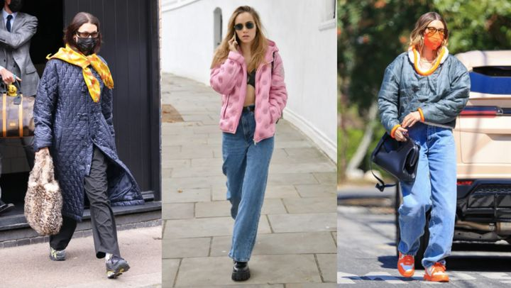 Quilted jackets often make an appearance in paparazzi photos during times of transitional weather.