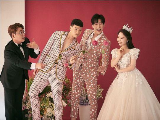 동료 개그맨 김기리, 유인석과 함께한 웨딩