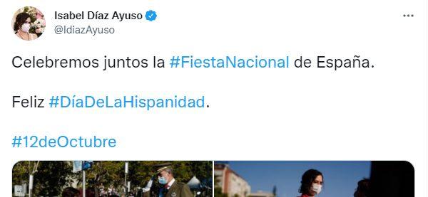 El tuit que ha publicado Isabel Díaz