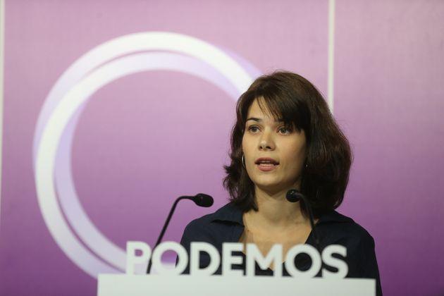 Isa Serra, el pasado 20 de septiembre, durante una rueda de prensa de Podemos en