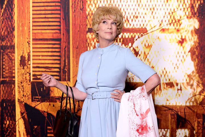 """Jamie Lee Curtis attends the costume party premiere of """"Halloween Kills"""" at TCL Chinese Theatre on October 12, 2021 in Hollywood."""
