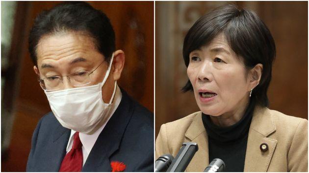 (左から)岸田文雄首相、森裕子参院議員