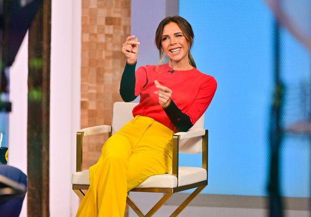 Victoria Beckham visits ABC's Good Morning America in Times Square on October 12, 2021 in New York City....