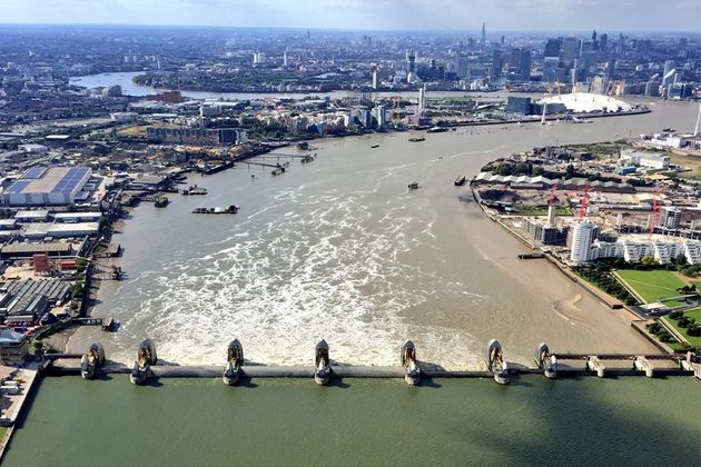 An aerial view of the Thames Barrier with closed