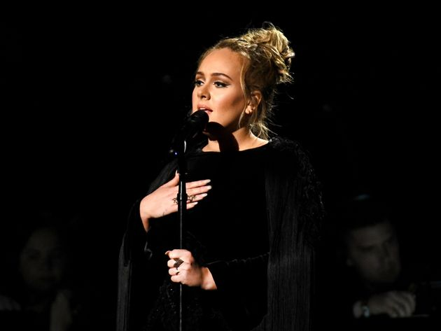 Adele on stage at the 2017