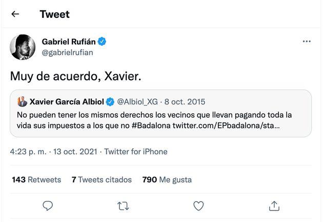 Tuit de Rufián en respuesta a