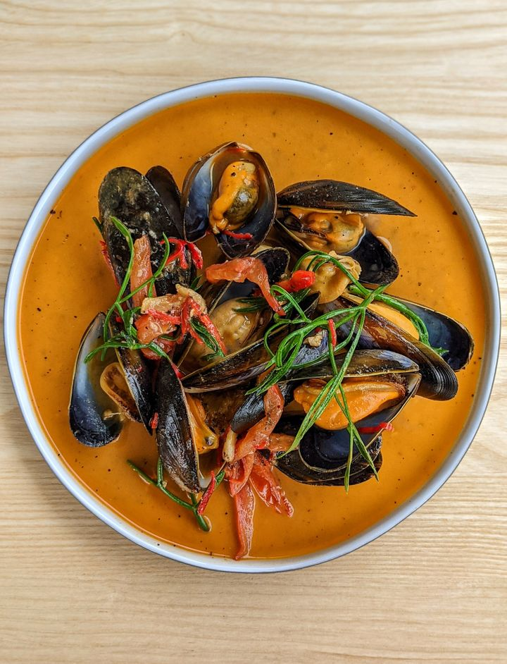 Rope-grown mussels on the menu at the newly opened The Magazine restaurant at the Serpentine.