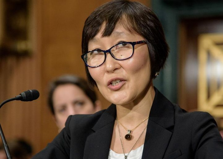 """Saule Omarova speaks during a September 2018 Senate banking committee hearing titled """"Fintech: Examining Digitization, Data, and Technology."""""""