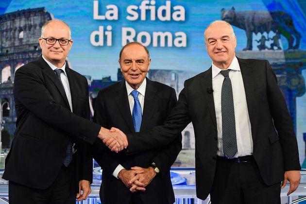 13/10/2021 Roma, tasmissione televisiva Porta a Porta, nella foto il candidato del centrosinistra Roberto...