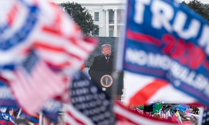 Trump speaks to supporters from the Ellipse at the White House on Jan. 6 soon before many in that crowd stormed Congress to interrupt the Electoral College vote certification.