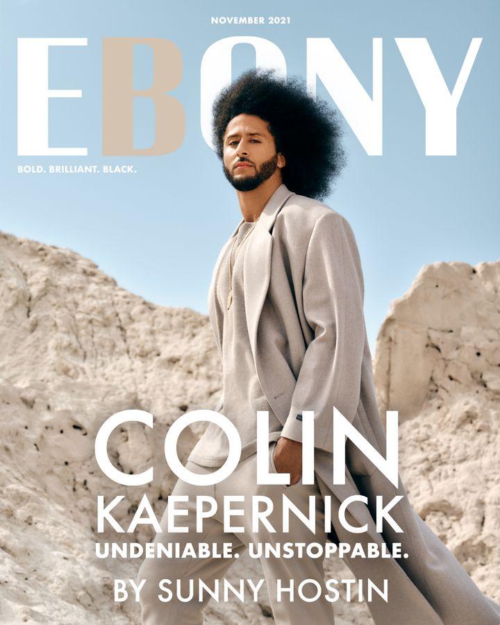 Ebony's November 2021 cover featuring Colin Kaepernick.
