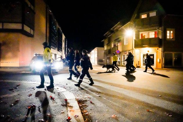 epa09522322 Police is investigating a site of an attack in Kongsberg, Norway, 13 October 2021. According...