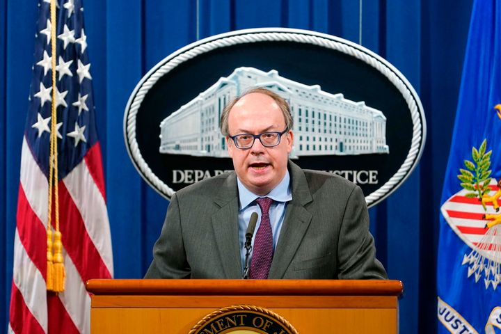 Jeffrey Clark speaks during a news conference at the Justice Department on Sept. 14, 2020.