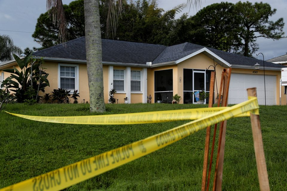 Police tape is seen outside the Laundrie family home in