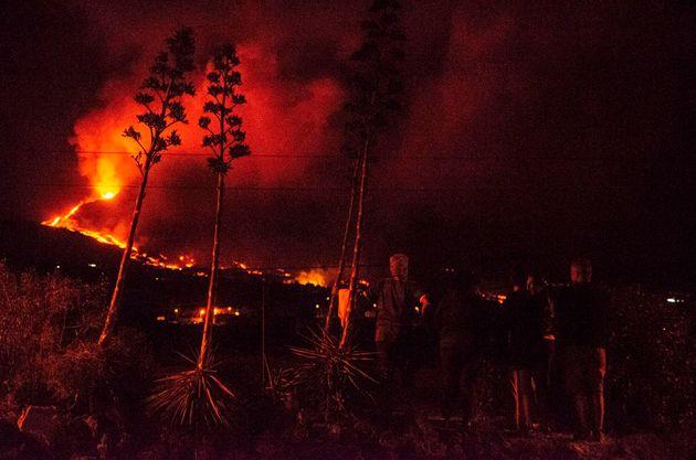 Vista de la erupción del volcán de La