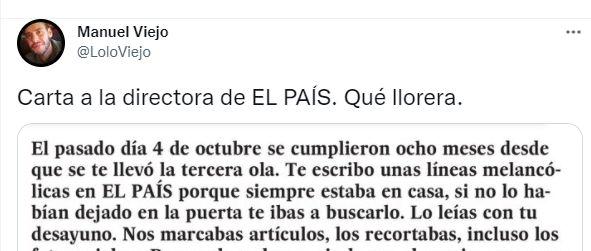 La carta a la directora de 'El País' publicada en Twitter por Manuel