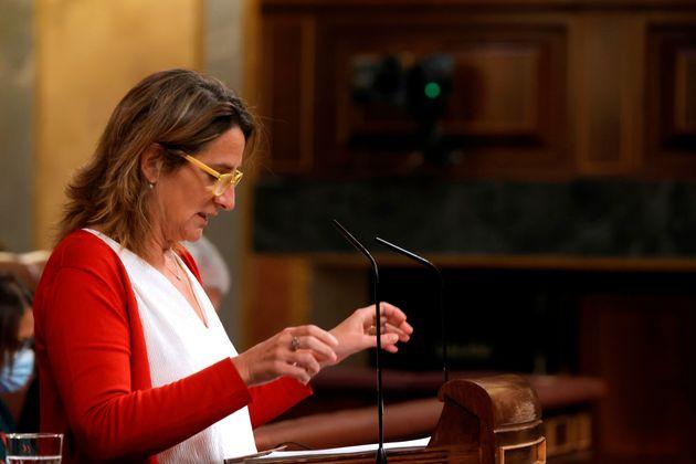 La vicepresidenta tercera y ministra de Transición Ecológica, Teresa Ribera durante su intervención en...