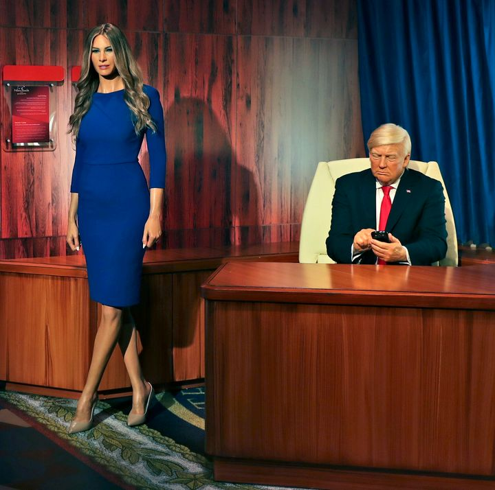 Waxworks of former President Donald Trump and former first lady Melania Trump have been unveiled at the new Madame Tussauds museum in Dubai.