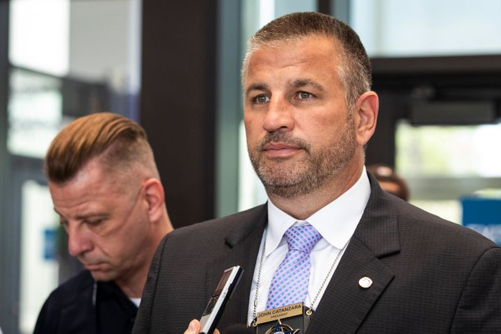 Fraternal Order of Police Lodge 7 President John Catanzara speaks to reporters at the Leighton Criminal Courthouse in Chicago, on Aug. 10, 2021.