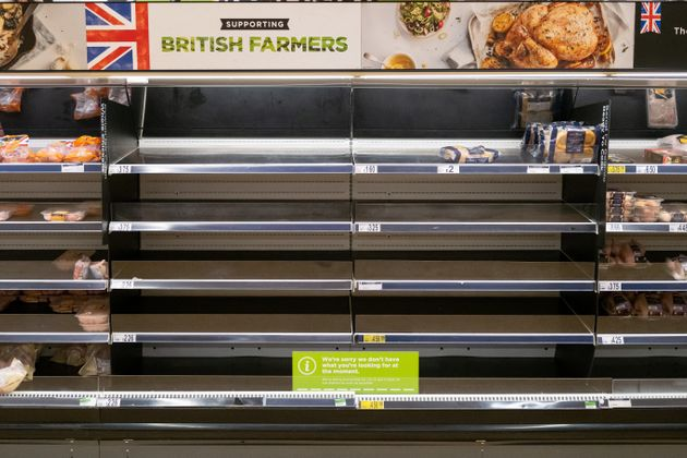 Empty shelves in an ASDA store in Cardiff in