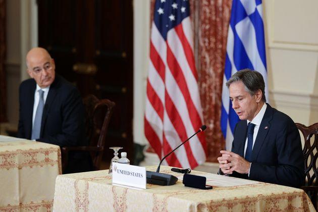U.S. Secretary of State Antony Blinken and Greece's Foreign Minister Nikos Dendias deliver remarks for...