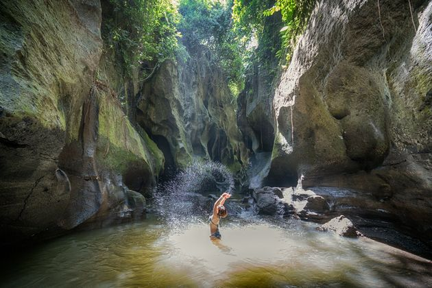 Hidden Canyon Beji Guwang with pools, waterfalls & carved rocks, is a Tranquil natural destination in...