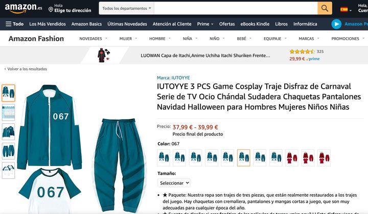 Captura de pantalla de la web de Amazon.