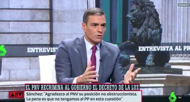 Pedro Sánchez, este jueves, en una entrevista con Antonio García