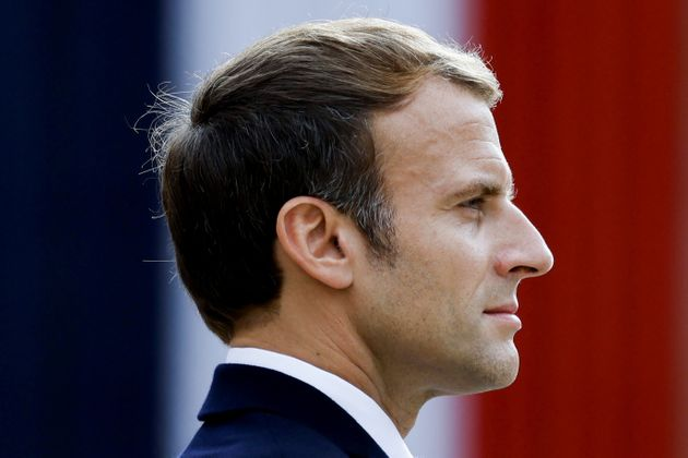 French President Emmanuel Macron attends a national memorial service for Hubert Germain, the last companion of the Liberation, at the Hotel des Invalides in Paris, France, October 15, 2021. Ludovic Marin/Pool via REUTERS