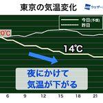 東京など関東はこのあと本降りの雨に。夜にかけて気温降下に注意