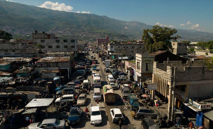 A bird's eye view of downtown Port-au-Prince, Haiti, Thursday, Sept. 30, 2021. (AP Photo/Rodrigo Abd)