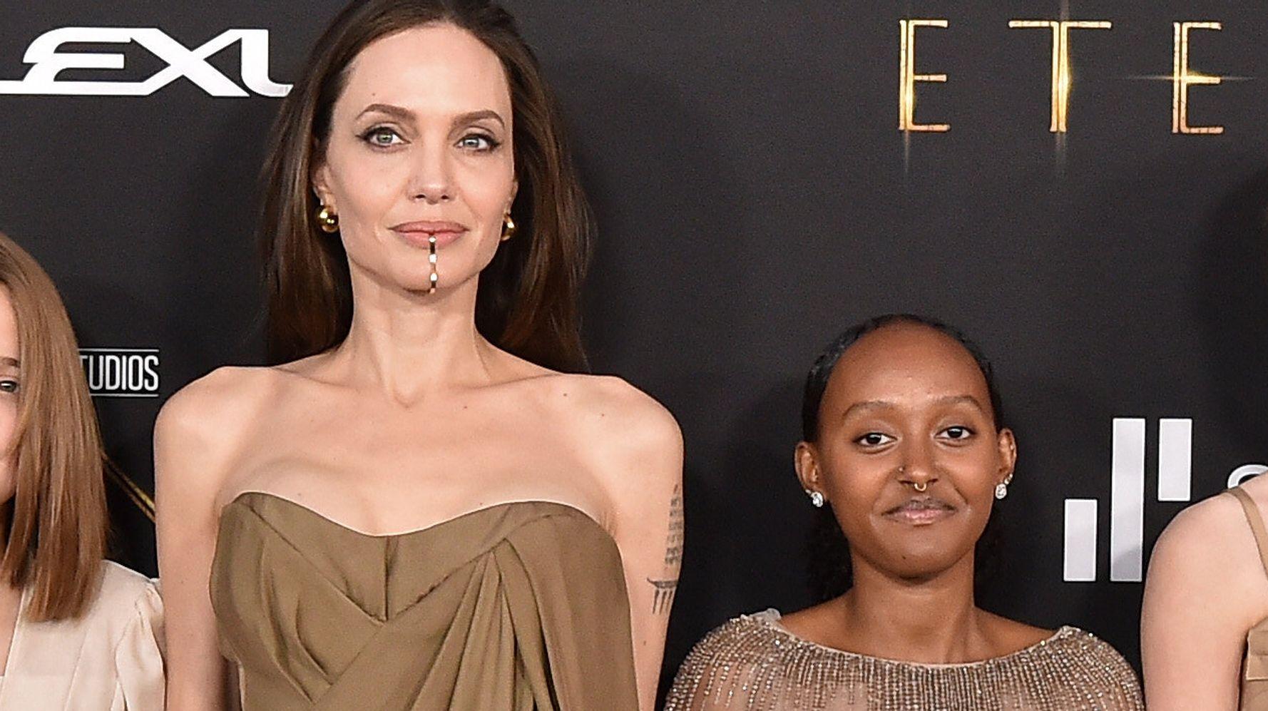 Angelina Jolie Let Daughter Zahara Borrow Her 2014 Oscars Dress For 'Eternals' Premiere