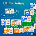 【10月20日の天気】関東は冷たい風が強く…木枯らし1号の可能性も