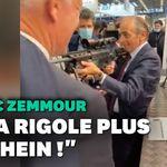 Éric Zemmour met en joue des journalistes avec un fusil,