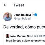 Baldoví lee un tuit de José Manuel Soto y le hace una pregunta: