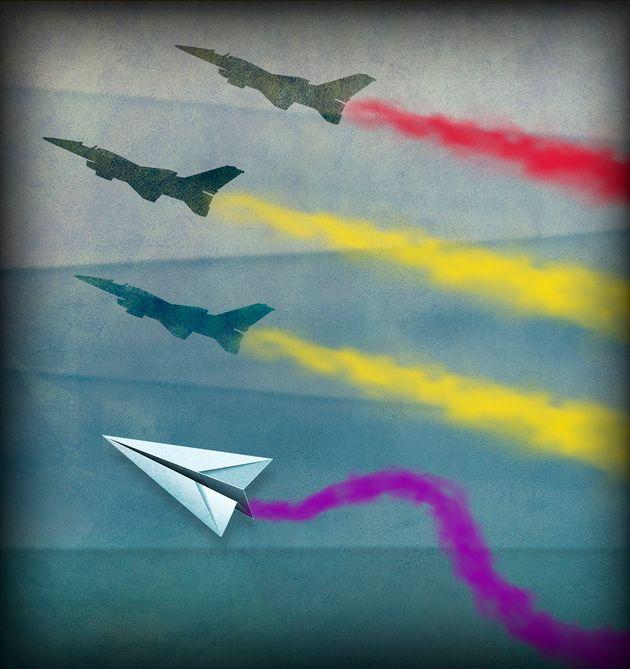 Fábula del avión guerrero y la bella bandera