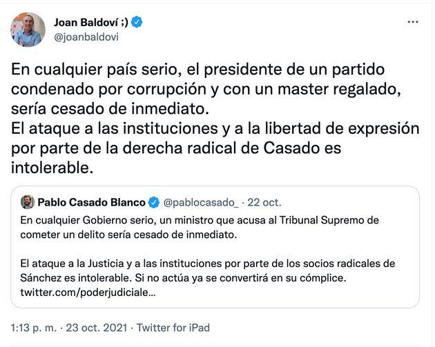 Baldoví replica a este tuit de Pablo Casado y le llueven los me gusta: van 6.500 y subiendo