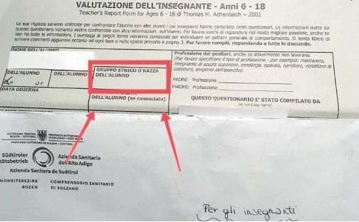 """In Alto Adige la Asl chiede la """"razza"""" degli alunni su un modulo"""